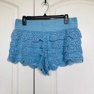 REWIND Light blue crochet elastic waist shorts